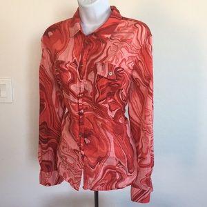 Michael Kors Pink Tie Dye Blouse Top XL